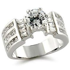 Solitaire Baguette Sides CZ Engagement Ring   Hope Chest Jewelry