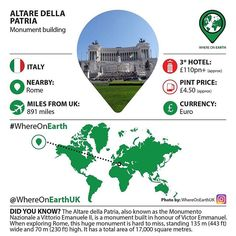 Altare della Patria is unmissable as you walk around Rome... But just how big is it and why was it built? #whereonearth #infographic #fact rome #altaredellapatria #monument #italy #travelphotography #wanderlust #wander #wanderer #travel #traveler #travels #instatravel #instatraveling #travelingram #travelgram #travelinspiration #travelinformation #traveladdict