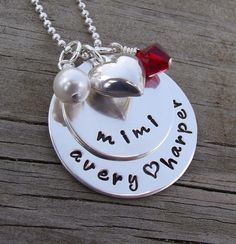 hand stamped grandmother necklace... Maybe for Mother's Day from Summer... Love it