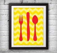 Fork Knife Spoon Print Poster Mid Century Art by BentonParkPrints, $14.00