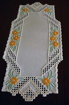 Hardanger embroidered table runner with flowers New and handmade