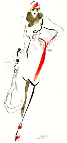 Fashion illustrations using pencil, ink and watercolor by Julija Lubgane at Coroflot.com