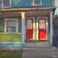 "Daily Paintworks - ""Red Door, Duplex"" - Original Fine Art for Sale - © Carol Marine"