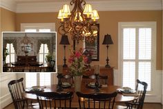Dining Room was painted Bridgewater Tan by Benjamin Moore, window treatments removed, Old World style chandelier with shades replaced outdated one. Black framed mirror, tall candlestick lamps with black shades and decorative art on stand on existing credenza were added to accentuate black table and chairs. Black candlesticks, floral arrangement and antique Italian dishes hi light table top.