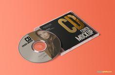best free cd jewel case and label sticker mockup psd