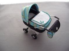 1/12th scale modern black and multi striped  pram, buggy, stroller, baby carriage hand crafted miniature