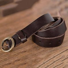 Tanned Leather Waist Belt Pure Copper Round Buckle Narrow Waist Band,Girls Decorative Belt For Jeans,Shorts,Dress,Support Lettered Leather Belts, Tan Leather, Copper Material, Cute Handbags, Pure Copper, Belt Buckles, Watch Bands, Pure Products, Lettering