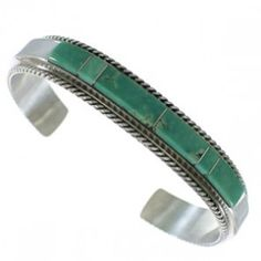 Turquoise Inlay Sterling Silver Native American Cuff Bracelet AX99228
