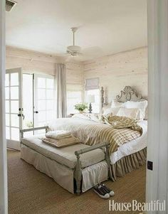 white-washed wood walls