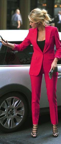 Hot pink suit,black top