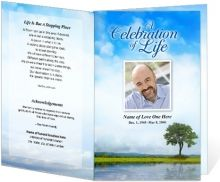 Order of service program template with wonderful sky and tree beside still waters. Blue and green hues.