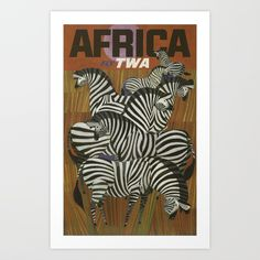 Visit Africa Black White Zebra Travel Tourism Trip Vintage Poster Repro FREE S,H