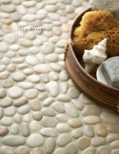 Zen Garden pebble mosaic tiles by Walker Zanger. Love these for my wet room Very zen. Bathroom Countertops, Concrete Countertops, Bathroom Flooring, Cement Counter, Wooden Counter, Laminate Countertops, Kitchen Backsplash, Stone Shower Floor, Pebble Floor