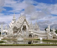 Wat Rong Khun, Chiang Rai, Thailand    Honestly, we can't decide whether this contemporary Buddhist temple—construction began in 1997 and is ongoing—is overwhelmingly beautiful or fantastically ugly. Either way, it's supremely eye-catching.