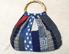 Japanese Boro Bag/ Komebukuro/ Drawstring Bag/ by JapaneseBOROshop