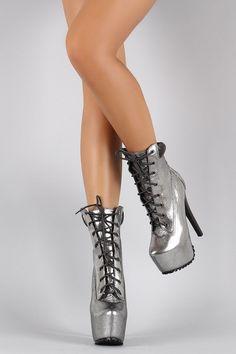 60047040591 Metallic Lace Up Lug Sole Platform Heeled Combat Ankle Boots
