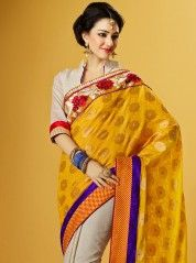 Traditional yellow jacquard saree: KSR2494