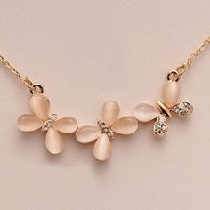 Wholesale Fashion Rhinestoned Opal Embellished Butterfly Shaped Pendant Alloy Necklace For Women (AS THE PICTURE), Necklaces - Rosewholesale.com