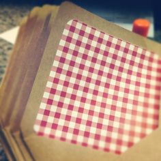 15 A7 Red Gingham Lined Kraft Envelopes by StephanieCreekmur, $18.00