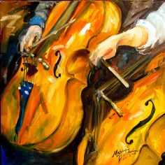 ABSTRACT CELLOS 16x16 OIL PAINTING MUSIC SERIES by M BALDWIN