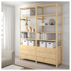 IKEA - IVAR, 2 sections/shelves/chest, pine, Untreated solid wood is a durable natural material which is even more hardwearing and easy to look after if you oil or wax the surface. You can move shelves and adapt spacing to suit your needs. Ivar Regal, Drawer Shelves, Shelving Units, Ikea Ivar Shelves, Salon Shelves, Ikea Family, Shelves In Bedroom, Drawer Fronts, Solid Pine