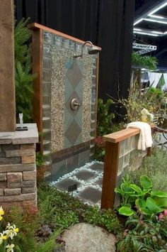 Along with your custom pool you need a custom outdoor shower. This is a really neat idea and i love the style. If you have an outdoor shower snap a picture and post it below. Outdoor Baths, Outdoor Bathrooms, Outdoor Rooms, Outdoor Gardens, Outdoor Living, Outdoor Kitchens, Outside Showers, Outdoor Showers, Garden Shower