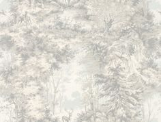 Torridon - Mulberry Home Wallpapers - A charming scene of a woodland glade with deer. Shown here in the sand colour way. Other colour ways available. A wide width and paste the wall product. Please request a sample for true colour match. Hallway Wallpaper, Home Wallpaper, Silver Grey Wallpaper, Coffee Room, Mulberry Home, Cosy Interior, Grey Blinds, Grey Home Decor, Glass Floor