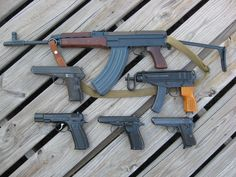Glorious Czechnology. Vz. 58, Cz. 52, Vz. 61, Cz-75, Cz 82, and either a Cz 50 or Cz 70, but judging by the grips, it appears to be the Cz 50.