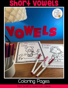 Your Students will ADORE these Coloring Book Pages for Short Vowels! Add it to your plans to compliment any Short Vowels Unit! 50 Coloring Pages For Some Short Vowel Fun! Perfect for bulletin bo Reading Centers, Literacy Centers, Writing Centers, Second Grade Teacher, First Grade Classroom, Writing Lessons, Writing A Book, Short I Words, Classroom Management Tips