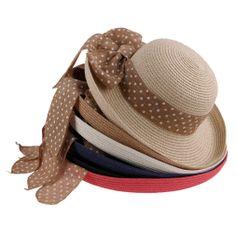 559cde2080e Fashion Dot Ribbon Straw Hat Summer Shade Outdoor Caps