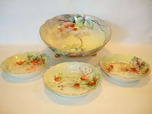 Awesome Footed Limoges Porcelain Master Serving Bowl with Berry Bowls~ Hand Painted with Red Raspberries, Strawberries & Currants ~ Artist E. Wright Signed ~  A. Klingenberg /Dwenger Haviland Limoges France  www.timberhillsantiques.com