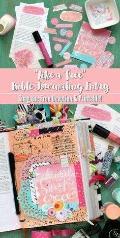 Need Bible journaling art inspiration?  Check out this beautiful illustrated page created using a free printable journaling card, paper doilies, and other ephemera.  Find out more about the printable journaling goodies and the FREE devotion that goes along with them in post.