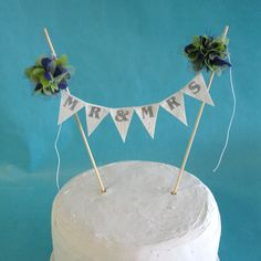 "Lime Green and Purple Pompom flower ""Mr & Mrs"" Cake Banner - shabby chic wedding bunting decoration. $23.00, via Etsy."