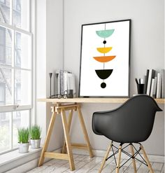Design style for folding table makeover? Scandinavian Poster Mid-Century Art Modern by DreamPrintDesigns