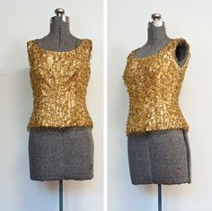 Vintage 1960s Blouse - Gold Lame Sequin Leaded Formal Cocktail PArty Top Shell - Medium