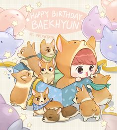 Happy Birthday Baekhyun by duckhymne on FanBook Chanbaek Fanart, Baekhyun Fanart, Kpop Fanart, Chanyeol, Kaisoo, Exo Cartoon, Tumblr Cartoon, K Pop, Exo Anime