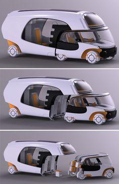 The Colim Modular Camper is a car, a trailer and a motorhome all in one. The Colim Modular Camper is a car, a trailer and a motorhome all in one. The Colim Modular Camper is a car, a trailer and a motorhome all in one. Motorhome, Automobile, Futuristic Cars, Futuristic Technology, Futuristic Vehicles, Futuristic Architecture, Amazing Architecture, Future Car, Future Tech