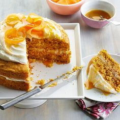 Sweet mango juice gives classic carrot cake a fresh twist. See more recipes from the magazine: http://www.bhg.com/recipes/from-better-homes-and-gardens/april-2013-recipes/?socsrc=bhgpin041213mangocarrotcake=2