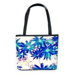 Blue flowers Bucket Bag