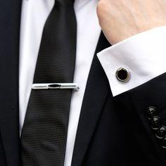 Set butoni camasa si ac cravata cu negru in mijloc, AMO 000 802 - SelfEventS. Tie Clip, Groom, Costume, Black, Fashion, Moda, Black People, Fashion Styles, Grooms