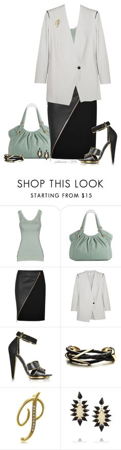 """""""Helmut Lang Asymmetrical Leather-Trimmed Blazer"""" by pwhiteaurora ❤ liked on Polyvore featuring by TI MO, Perlina, Emilio Pucci, Helmut Lang, Roberto Cavalli, Alexis Bittar, BERRICLE and Kenneth Jay Lane"""