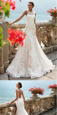 Glamorous Tulle Sexy Backless Mermaid Wedding Dress With Lace Appliques