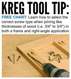 "Kreg Tool Tip: Select the Correct Screw // Learn how to select the correct screw type when joining like thicknesses of material (i.e. 3/4"" to 3/4"") in both a frame and right-angle application. Get your FREE chart here: http://www.kregtool.com/files/newsletters/kregplus/Images/february12/selecting-the-correct-screw.pdf"