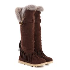 Aisun Women's Stylish Tassel Belt Buckle Flat Knee High Snow Boots >>> This is an Amazon Affiliate link. To view further for this item, visit the image link.
