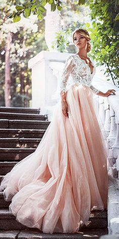 pink wedding dresses a line with long sleeves lace top tylle skirt anna skoblikova Are you tired from classic white wedding dresses? Do you want something new? We just make for you a fresh list of most charming pink wedding dresses. Pink Wedding Dresses, Wedding Dress Sleeves, Long Sleeve Wedding, Wedding Dress Styles, Bridal Dresses, Unique Colored Wedding Dresses, Pink Lace Dresses, Pink Tulle, Dresses Dresses