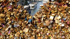 Padlocks clipped by lovers are seen on the fence of the Pont des Arts over the River Seine in Paris, France, September REUTERS/Jacky Naegelen Love Lock, Over The River, Pictures Of The Week, City Lights, Travel Photos, Cool Photos, September, Padlocks, Bridges