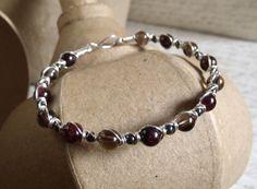 Smoky Quartz & Garnet Bracelet / Handmade Wire by BeadedAmbrosia