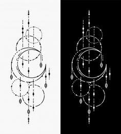 The Moon Geometric Tattoos Mini Tattoos, Body Art Tattoos, New Tattoos, Small Tattoos, Geometric Tattoo Design, Geometric Lines, Geometric Tattoo Drawings, Geometric Tattoo Back, Arm Tattoo