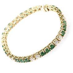 Bracelets 18K Yellow Gold Emerald Diamond Tennis Bracelet ($36,524) ❤ liked on Polyvore