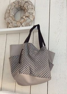 large fabric bag with vegan leather, shoulder bag by BooneStaakjeS